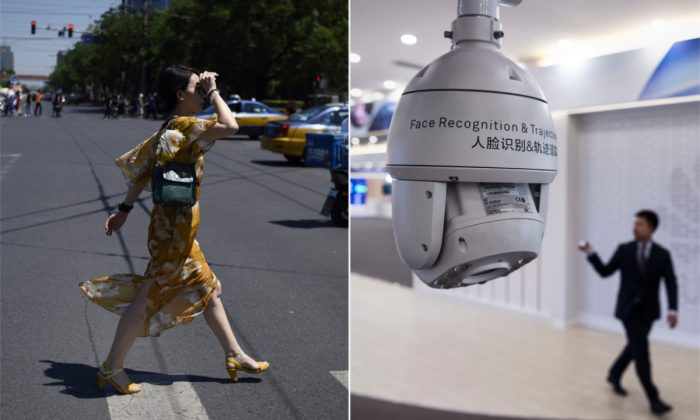 (L) A woman crossing the street in Beijing. (Wang Zhao/AFP/Getty Images) | (R) A Chinese facial recognition camera. (Kevin Frayer/Getty Images)