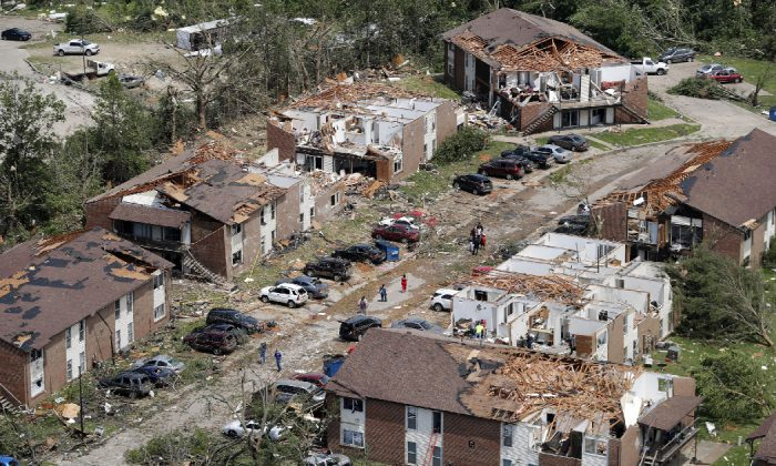 Eight years to the day after a devastating tornado killed 161 people in Joplin, another big twister ripped through another Missouri community, Jefferson City, Mo. on May 23, 2019. (Jeff Roberson/AP)