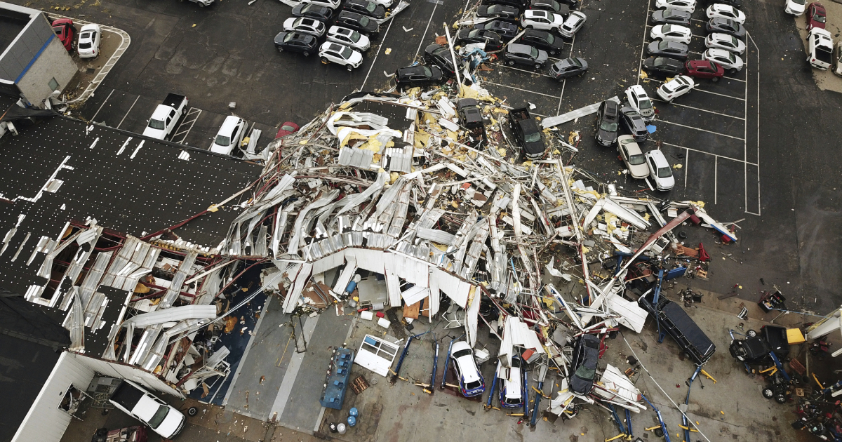 This aerial image shows severe storm damage