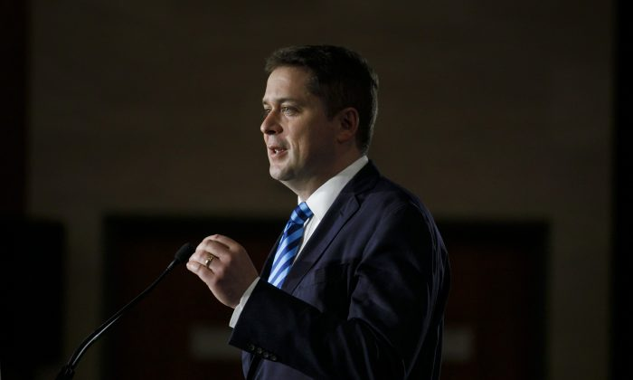 Conservative Party leader Andrew Scheer announces his immigration policy in Toronto on May 28, 2019. (Cole Burston/The Canadian Press)