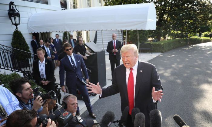 President Donald Trump answers questions on the comments of special counsel Robert Mueller while departing the White House May 30, 2019 in Washington. (Win McNamee/Getty Images)