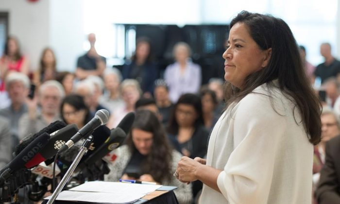 Jody Wilson-Raybould announces that she will run as a independent in the fall election during a news conference in Vancouver on May 27, 2019. (Jonathan Hayward/The Canadian Press)