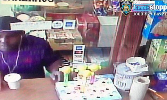 New York Police Department's 42nd Precinct is searching for this man who was last seen removing a tin can filled with money from a Morrisania bodega in  the Bronx, N.Y., on May 8, 2019. (Courtesy of NYPD)