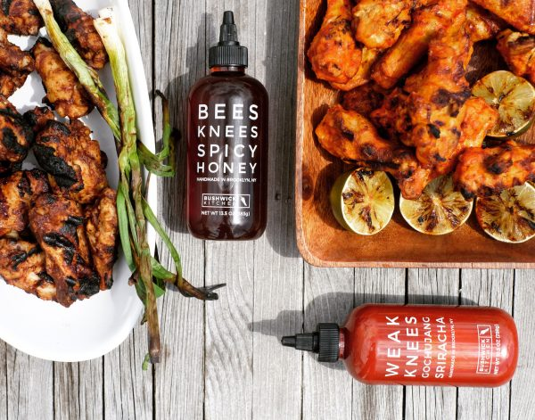 Wings Two Ways with spicy honey and gochujang sriracha