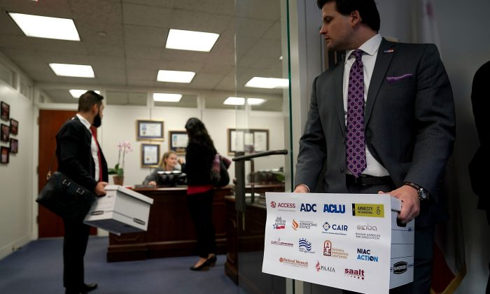 Members of the National Iranian American Council deliver a petition to the office of Sen. Dianne Feinstein (D-CA) in the Hart Senate Office Building on Capitol Hill October 18, 2017 in Washington, DC. (Chip Somodevilla/Getty Images)