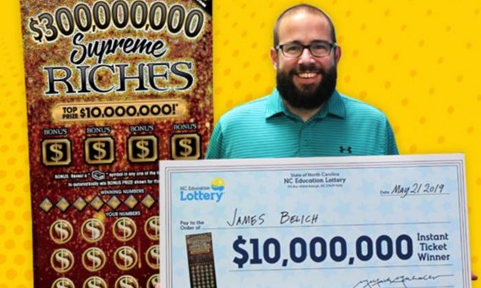 James Belich with his $10 million lottery prize. (North Carolina Education Lottery)