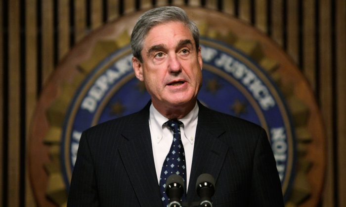 FBI Director Robert Mueller speaks during a news conference at the FBI headquarters in Washington, DC. on Jun. 25, 2008. (Alex Wong/Getty Images)