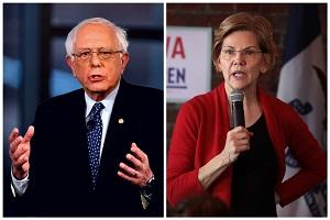 en. Bernie Sanders (I-Vt.) in Bethlehem, Pa., on April 15, 2019 and Sen. Elizabeth Warren (D-Mass.) in Dubuque, Iowa, on March 1, 2019.   (Mark Makela/Getty Images; Scott Olson/Getty Images)