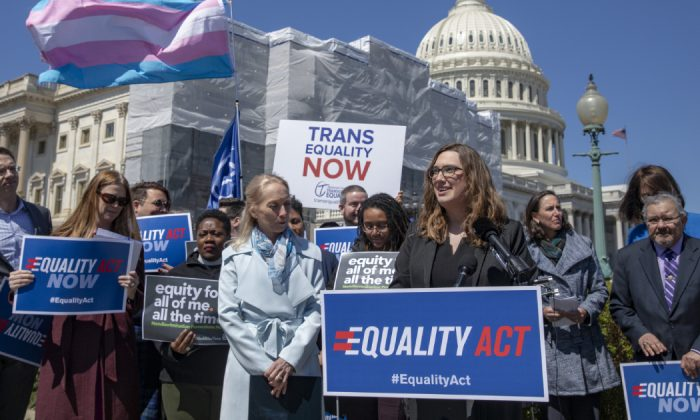 Sarah McBride, National Press secretary of Human Rights Collation speaks on introduction of the Equality Act, a comprehensive LGBTQ non-discrimination bill at the US Capitol in Washington, DC. on April 1, 2019. (Tasos Katopodis/Getty Images)