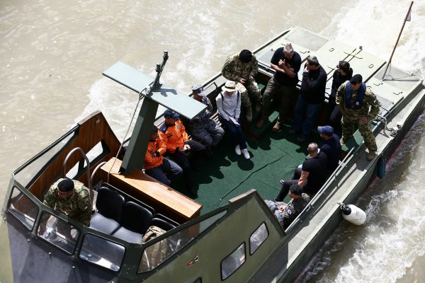 A special South Korean rescue team is seen on a boat at the site of a ship accident, which killed several people, near Margaret Bridge on the Danube river in Budapest, Hungary, May 31, 2019. (Antonio Bronic/Reuters)
