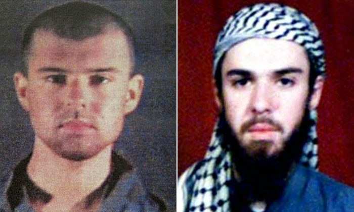 """This combination of pictures created on April 17, 2019, shows at left a police file photo made available Feb. 6, 2002, of the """"American Taliban"""" John Walker Lindh and at right a Feb. 11, 2002, photograph of him as seen from the records of the Arabia Hassani Kalan Surani Bannu madrassa (religious school) in Pakistan's northwestern city of Bannu. TARIQ MAHMOOD,---/AFP/Getty Images"""