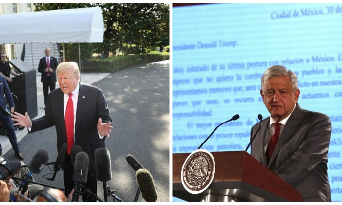 President Donald Trump (L) answers questions on the comments of special counsel Robert Mueller while departing the White House in Washington, on May 30,2019. (Win McNamee/Getty Images)