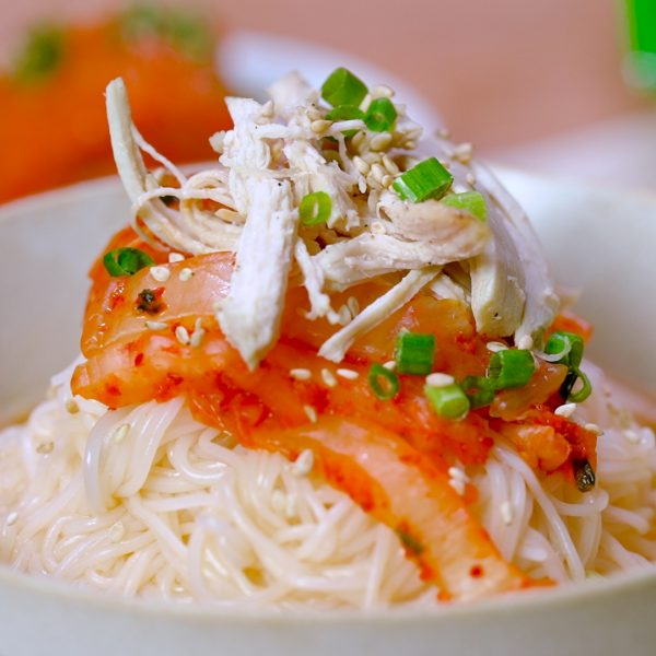 rice noodle soup with kimchi