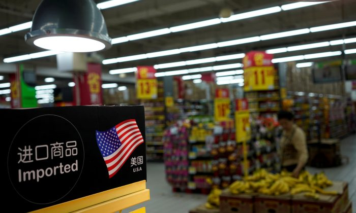 Imports from the U.S. are seen at a supermarket in Shanghai, China on April 3, 2018. (Aly Song/Reuters)