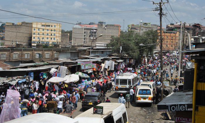 An aerial view of the Gikomba market, Kenya, on July 1, 2019. (Dominic Kirui/The Epoch Times)