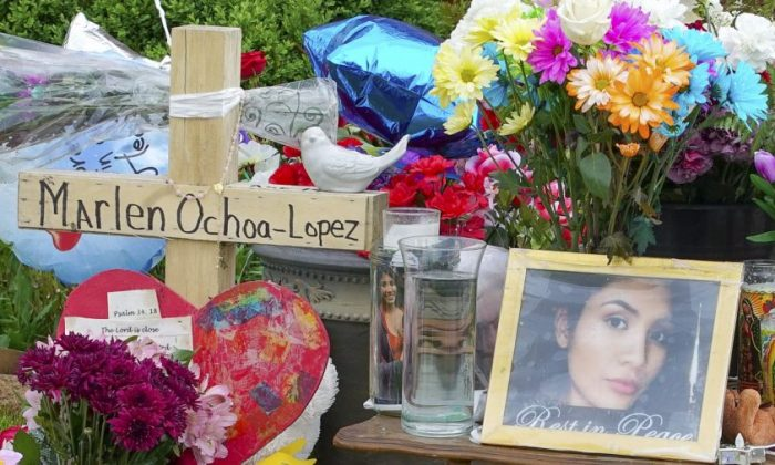 A memorial of flowers, balloons, a cross, and photo of victim Marlen Ochoa-Lopez, in Chicago on May 17, 2019. (Teresa Crawford/AP Photo)
