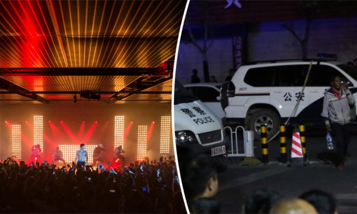 (L) A concert in Hong Kong (Victor Fraile/Getty Images for Calvin Klein) -- (R) Police in China. (STR/AFP/Getty Images)