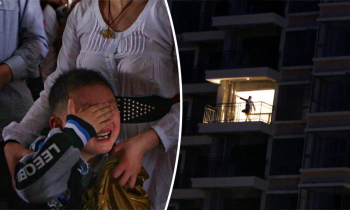 (L) A mother holding her boy as he cries. (Feng Li/Getty Images) -- (R) Apartments being built in China (Paula Bronstein/Getty Images)