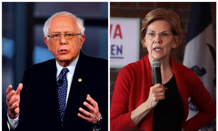 Sen. Bernie Sanders (I-Vt.) in Bethlehem, Pa., on April 15, 2019 and Sen. Elizabeth Warren (D-Mass.) in Dubuque, Iowa, on March 1, 2019. (Mark Makela/Getty Images; Scott Olson/Getty Images)