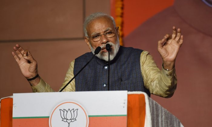 India Prime Minister Narendra Modi delivers his victory speech at Bharatiya Janta Party headquarters after winning India's general election, in New Delhi on May 23, 2019. (PRAKASH SINGH/AFP/Getty Images)
