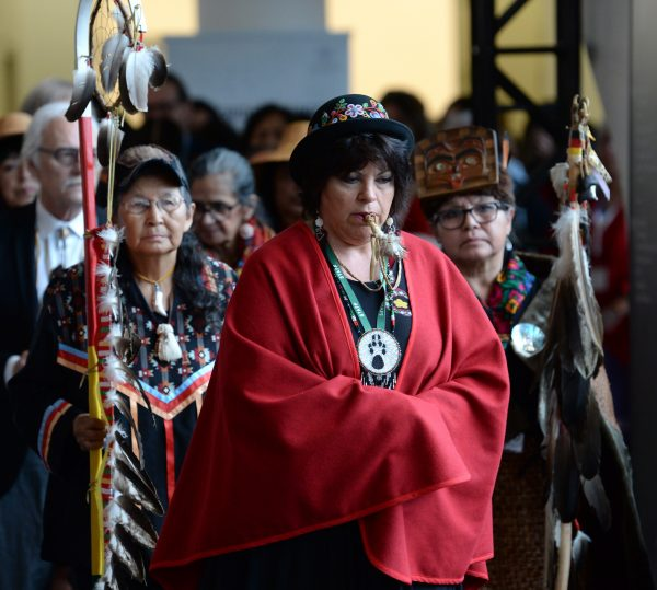 The opening procession is shown at the closing ceremony for the National Inquiry into Missing and Murdered Indigenous Women and Girls in Gatineau, Que.,on June 3, 2019. (Adrian Wyld/The Canadian Press)