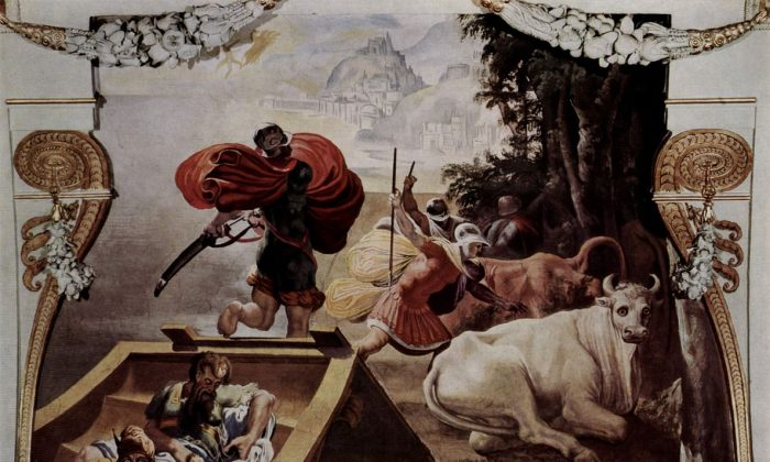 """The Companions of Odysseus Steal the Cattle of Helios,"" 1554/56 Pellegrino Tibaldi. Fresco, Palazzo Poggi Museum. (Public Domain)"