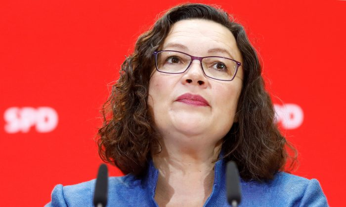 Leader of Social Democratic Party (SPD) Andrea Nahles attends a news conference after Bavaria state election, in Berlin, Germany, on Oct. 15, 2018. (Michele Tantussi/Reuters)