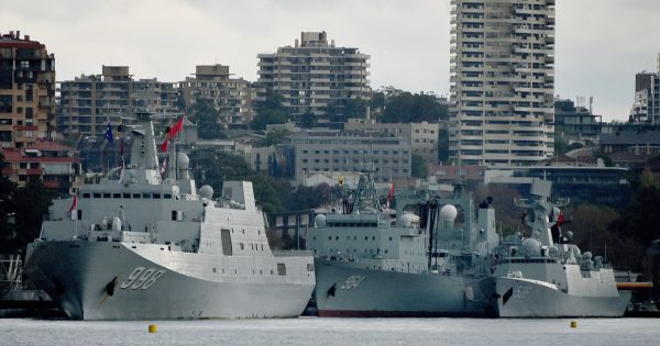 Chinese warships docked in Sydney, Australia