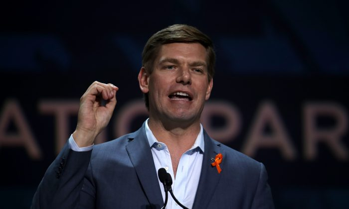 U.S. Rep. Eric Swalwell (D-Calif.) speaks during the California Democrats 2019 State Convention at the Moscone Center in San Francisco, California, on June 1, 2019. (Justin Sullivan/Getty Images)