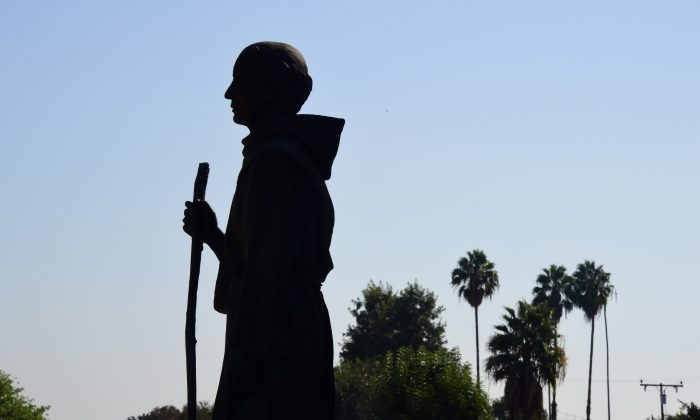 A statue of Father Junipero Serra stands in front of the San Gabriel Mission in San Gabriel, Calif., on Sept. 23, 2015. (Frederic J. Brown/AFP/Getty Images)