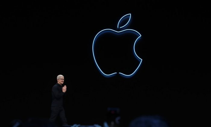 Apple CEO Tim Cook speaks at the Apple Worldwide Developers Conference in San Jose, Calif., on June 3, 2019. (AP Photo/Jeff Chiu)
