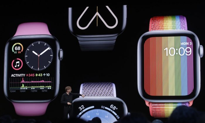 Apple's Kevin Lynch speaks on Apple Watch at the Apple Worldwide Developers Conference in San Jose, Calif., on June 3, 2019. (AP Photo/Jeff Chiu)