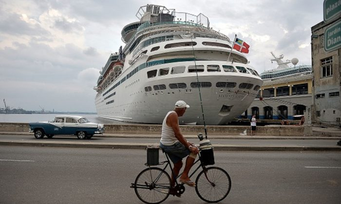 A Royal Caribbean cruise is docked at a port in Havana, Cuba, on May 6, 2019. (Yamil Lage/AFP/Getty Images)