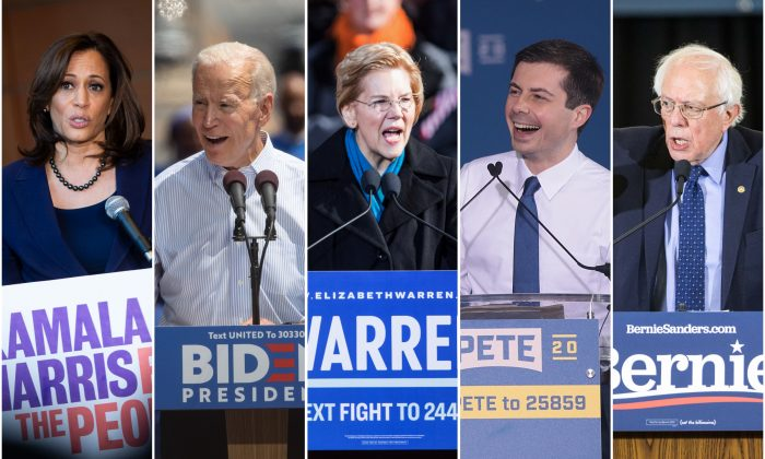 (L-R) Sen. Kamala Harris (D-Calif.), former Vice President Joe Biden, Sen. Elizabeth Warren (D-Mass.), Sen. Bernie Sanders (I-Vt.). (Al Drago/Getty Images; Drew Angerer/Getty Images; Scott Eisen/Getty Images; South Bend Mayor Pete Buttigieg; Scott Olson/Getty Images; Scott Eisen/Getty Images)