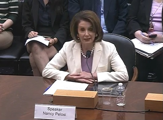"Speaker of the House Nancy Pelosi testifies at the hearing""Tiananmen at 30: Examining the Evolution of Repression in China"" held by the Congressional Executive Commission on China and the Tom Lantos Human Rights Commission on Capitol Hill in Washington on June 4, 2019. (Screenshot/CECC)"