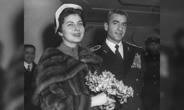 Mohammad Reza Pahlavi, the Shah of Iran (1919 - 1980) with his wife Queen Soraya during a visit to London, on 17 Feb. 1955. (Ron Case/Keystone/Hulton Archive/Getty Images)