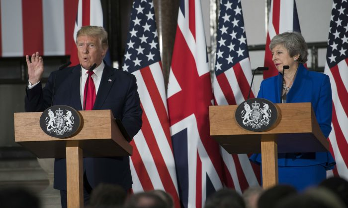 President Donald Trump and Prime Minister Theresa May attend a joint press conference at the Foreign & Commonwealth Office during the second day of the President's State Visit in London, on June 4, 2019. (David Rose - WPA Pool /Getty Images)