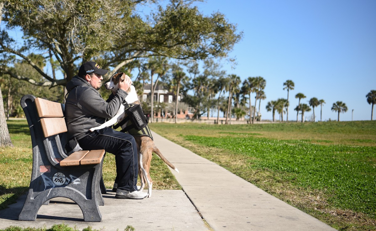 Iraq war veteran with PTSD now finds solace in a service dog that never leaves his side