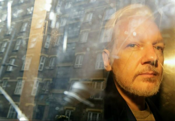 WikiLeaks founder Julian Assange in car
