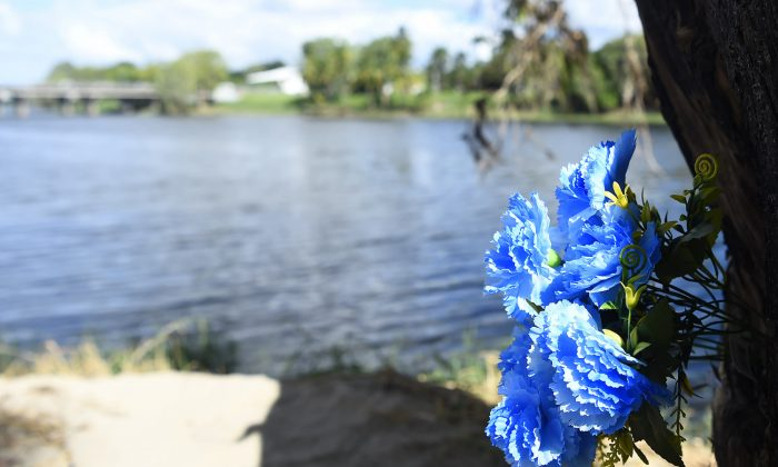 A makeshift floral tribute at the site where two young boys drowned. (Ian Hitchcock/Getty Images)
