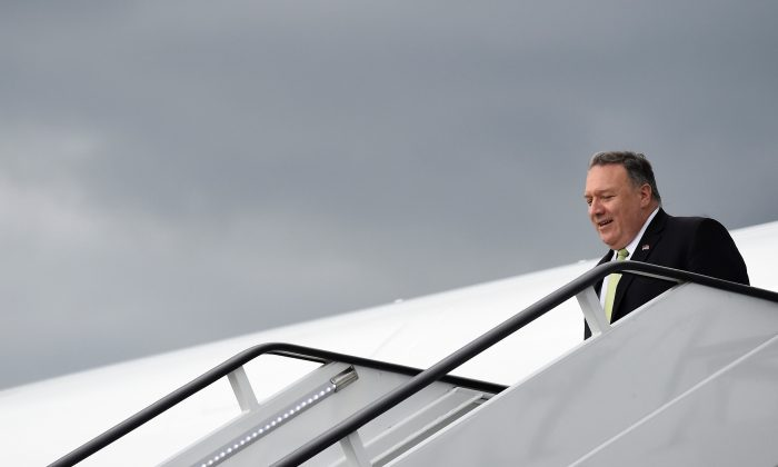U.S. Secretary of State Mike Pompeo arrives at Stansted Airport near London, Britain on June 3, 2019. (Clodagh Kilcoyne/Reuters)