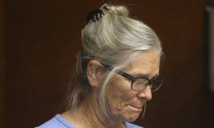 Leslie Van Houten during a hearing at the California Institution for Women in Corona, Calif., on Sept. 6, 2017. (Stan Lim/Los Angeles Daily News via AP)