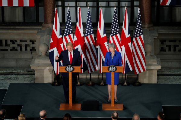 President Donald Trump and Britain's Prime Minister Theresa May hold a joint news conference