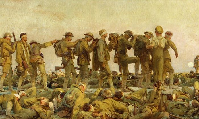 "The war to end all wars ushered in drastic changes to art and poetry. ""Gassed,"" 1919, by John Singer Sargent. Imperial War Museum London. (Public Domain)"
