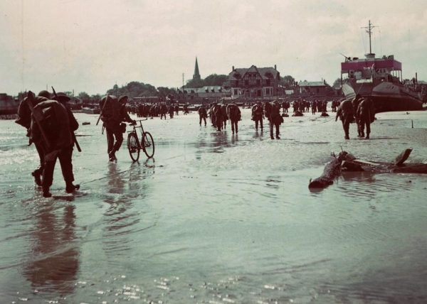 Some of the most vivid film footage of the D-Day landings 75-years ago was shot by a Canadian military film unit using technology obtained from U.S. allies. Canadian soldiers land on a Normandy, France beach during the D-Day invasion June 6, 1944. (Department of National Defence/The Canadian Press)