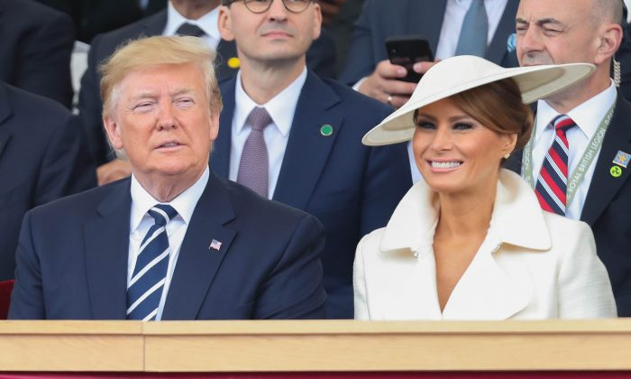President of the United States, Donald Trump and First Lady of the United States, Melania Trump watch the fly-past during the D-Day Commemorations on June 5, 2019 in Portsmouth, England. (Dan Kitwood/Getty Images)