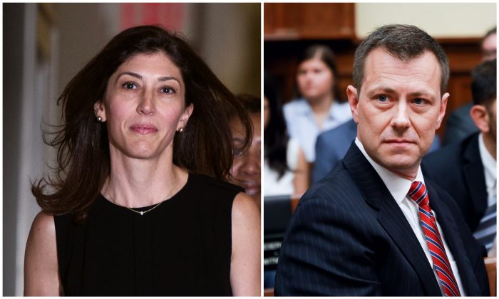 Lisa Page on Capitol Hill on July 13, 2018, and  Peter Strzok on Capitol Hill on July 12, 2018. (ANDREW CABALLERO-REYNOLDS/AFP/Getty Images; Samira Bouaou/The Epoch Times)