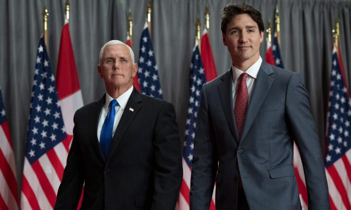 Canadian Prime Minister Justin Trudeau and U.S. Vice President Mike Pence leave a joint news conference in Ottawa on May 30, 2019. Pence re-affirmed U.S. support of Canada's efforts to secure the release of two Canadians unlawfully detained in China. (The Canadian Press/Justin Tang)
