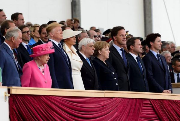 Queen Elizabeth II and World leaders stand during an event to mark the 75th anniversary of D-Day on June 5, 2019 in Portsmouth, England. (AP Photo/Alex Brandon/The Canadian Press)