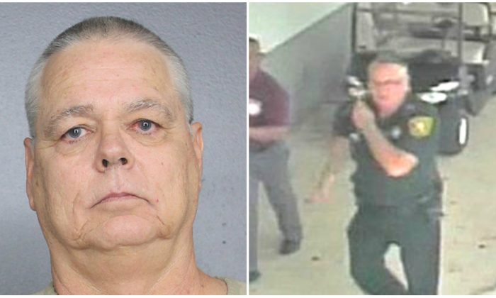 L: An undated photo of Scot Peterson, a former Florida deputy. (Broward County Sheriff's Office via AP)  R: Scot Peterson on duty during Parkland shooting as seen in a surveillance video. (Screenshot/Broward County Sheriff's office)
